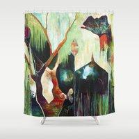 "flora bowley Shower Curtains featuring ""Temple Lilies"" Original Painting by Flora Bowley by Flora Bowley"
