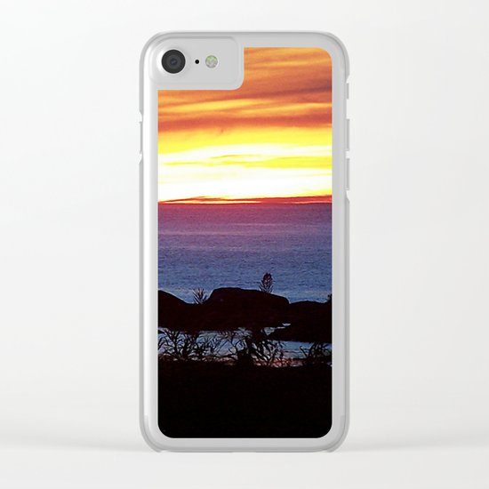 Sunset Swirling Clouds Clear iPhone Case