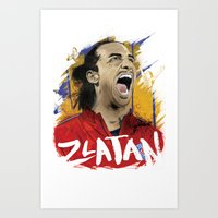zlatan Art Prints featuring Zlatan by Conal Deeney