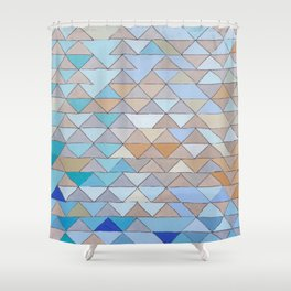 Triangle Pattern no.1 Blues and Browns Shower Curtain