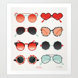 Sunglasses Collection – Red & Mint Palette Art Print