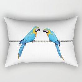 Macaw Bird sitting on rope white Rectangular Pillow