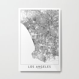 Los Angeles White Map Metal Print