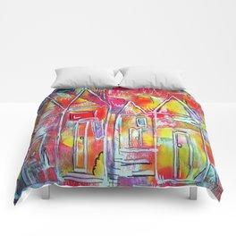 Orange Neon Houses Comforters