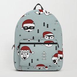 Scandinavian geometric woodland santa indian animals christmas pattern blue red Backpack