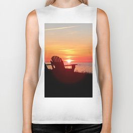 Chairs Sea and Sunset Biker Tank