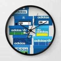 sneaker Wall Clocks featuring SNEAKER HEAD BLUE by RickART