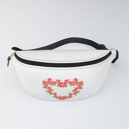 Pretty Holiday Poinsettia Christmas Gift Fanny Pack