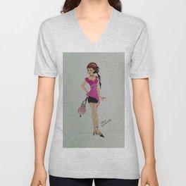pink chiffon blouse, pink chiffon, pink blouse, fashion illustration, cute fashion, fashionable, Unisex V-Neck