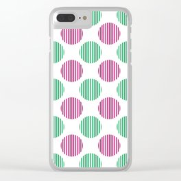 Berry pink, green and white striped texture polka dots pattern Clear iPhone Case
