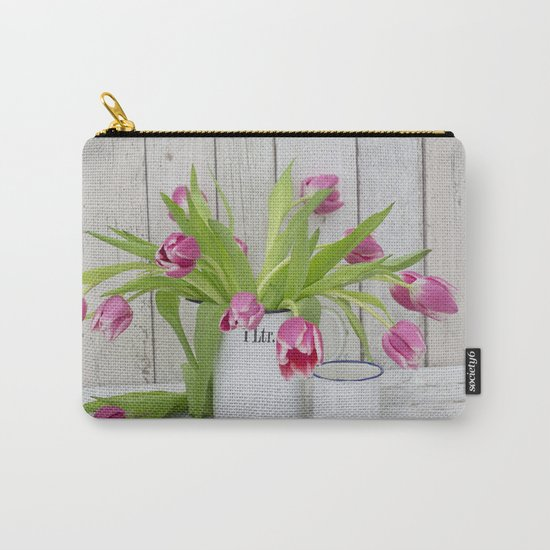 pink spring tulip still life country style Carry-All Pouch