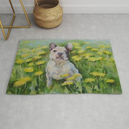 Frenchie Cute French Bulldog puppy portrait Bully Dog Pet in the meadow Yellow Flowers Painting Rug