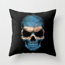 Dark Skull with Flag of Honduras Throw Pillow