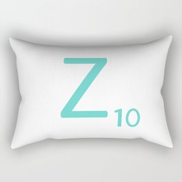 Blue Z Initial Scrabble Typography Rectangular Pillow