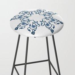 Blue Floral Heart Tile Bar Stool