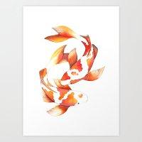 Watercolour Koi Fish Art Print