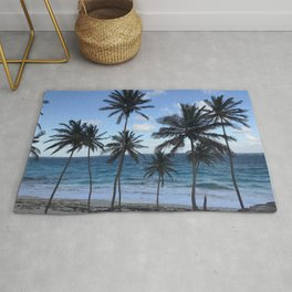 Barbados Beach with Tall Palm Trees Rug