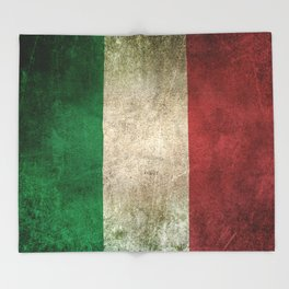 Old and Worn Distressed Vintage Flag of Italy Throw Blanket