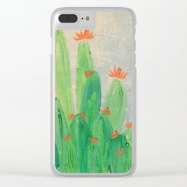 Cactus garden with orange flowers Clear iPhone Case