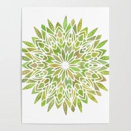 Mandala Desert Cactus Green Poster