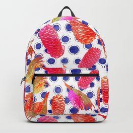 Beautiful Australian Native Floral Pattern - Grevillea and Beehive Ginger Backpack