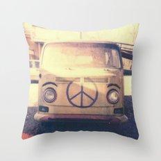 Happy VW Van Polaroid Throw Pillow