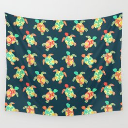 Cute Flower Child Hippy Turtles Wall Tapestry