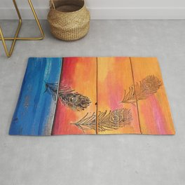 Rising Sun. My Orginal Abstract Painting by Jodilynpaintings. Abstract Sunset With Feathers. Beach Rug