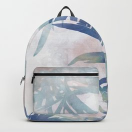 Navy Blue and Blush Pink Palm Leaf Watercolor Painting Backpack