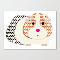 guinea pig Canvas Prints featuring Guinea Pig Patterned Guinea Pig by Upcyclepatch