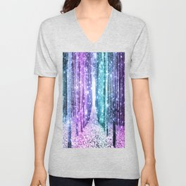 Magical Forest Lavender Aqua Teal Ombre Unisex V-Neck
