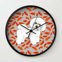Bichon Frise in Fall Leaves Wall Clock