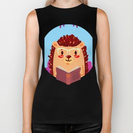 Adorable Hedgehog Book Nerd Shirt  Cute Pun Animal Biker Tank