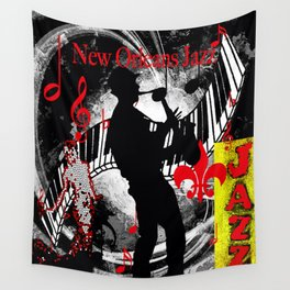 New Orleans Jazz Saxophone And Piano Music Wall Tapestry
