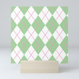 Green Argyle Mini Art Print
