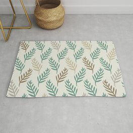 Botanical Palm Leaf Nature Pattern in Jade Green Beige Brown Gray Rug