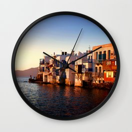 Mykonos Glow Sunset Wall Clock