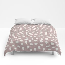 Simply Ink Splotch Lunar Gray on Clay Pink Comforters