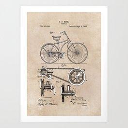 patent Bicycle 1890 Rice Art Print