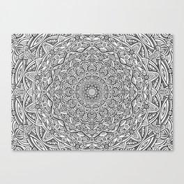 The Most Detailed Intricate Mandala (White) Maze Zentangle Popular Trending Pattern Design Canvas Print