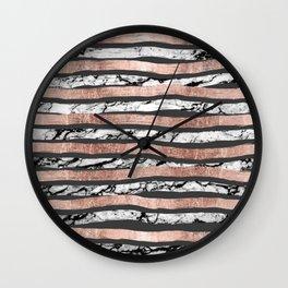 Elegant Black White Marble Rose Gold Brushstrokes Wall Clock