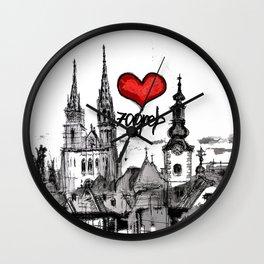 I love Zagreb Wall Clock