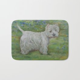 Westie on the meadow West Highland White Terrier Cute dog portrait on the scenic landscape Bath Mat