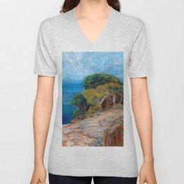 Sea View of Lacroma landscape coastline painting by Emilie Mediz-Pelikan Unisex V-Neck