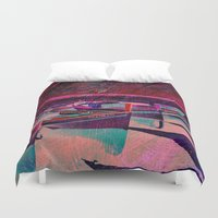 boats Duvet Covers featuring vintage boats by  Agostino Lo Coco