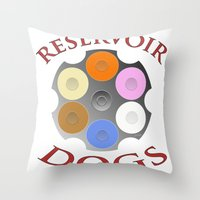 reservoir dogs Throw Pillows featuring Reservoir Dogs, Tarantino, Illustration by pathos_design