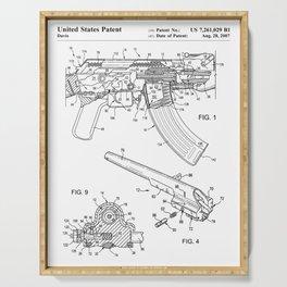 Ak-47 Rifle Patent - Ak-47 Firing Mechanism Art - Black And White Serving Tray