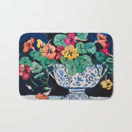 Nasturtium Bouquet in Chinoiserie Bowl on Dark Blue Floral Still Life Painting Bath Mat