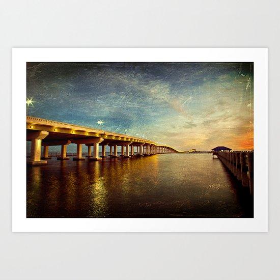 Twilight Bridge Art Print