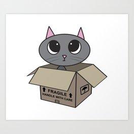 Cat in Box Art Print